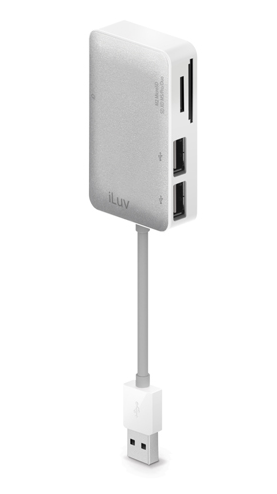 iLuv Card Reader with USB Hub - White