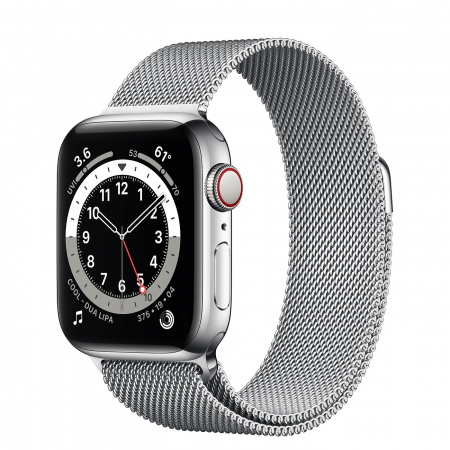 Apple Watch S6 GPS + Cellular, 40mm Silver Stainless Steel Case with Silver Milanese Loop
