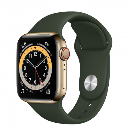 Apple Watch S6 GPS + Cellular, 40mm Gold Stainless Steel Case with Cyprus Green Sport Band - Regular