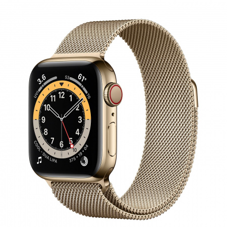 Apple Watch S6 GPS + Cellular, 40mm Gold Stainless Steel Case with Gold Milanese Loop