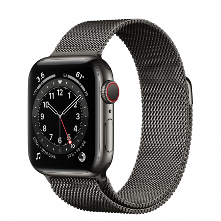 Apple Watch S6 GPS + Cellular, 40mm Graphite Stainless Steel Case with Graphite Milanese Loop