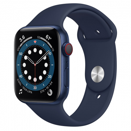 Apple Watch S6 GPS + Cellular, 44mm Blue Aluminium Case with Deep Navy Sport Band - Regular