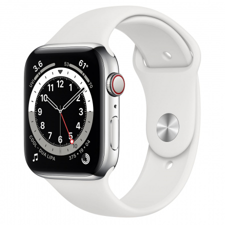 Apple Watch S6 GPS + Cellular, 44mm Silver Stainless Steel Case with White Sport Band - Regular