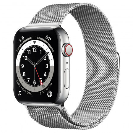 Apple Watch S6 GPS + Cellular, 44mm Silver Stainless Steel Case with Silver Milanese Loop