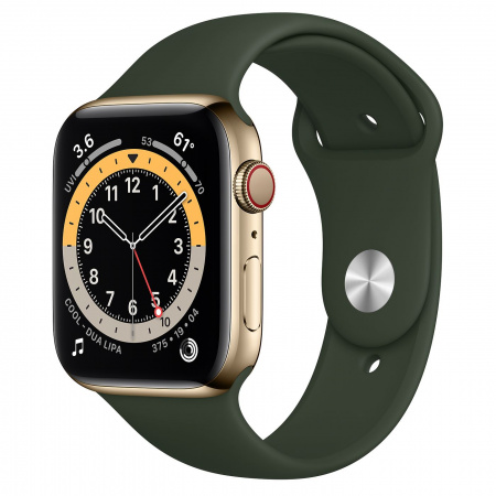 Apple Watch S6 GPS + Cellular, 44mm Gold Stainless Steel Case with Cyprus Green Sport Band - Regular