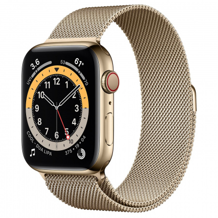 Apple Watch S6 GPS + Cellular, 44mm Gold Stainless Steel Case with Gold Milanese Loop