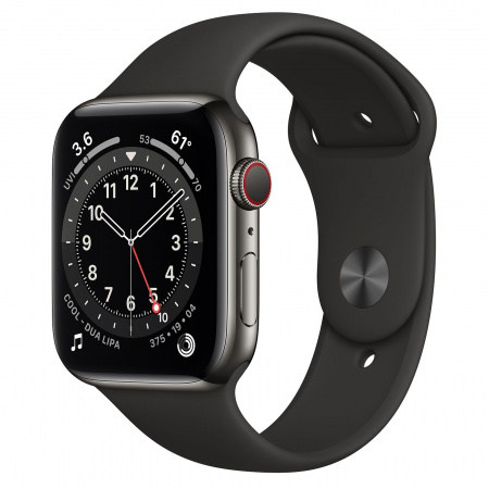 Apple Watch S6 GPS + Cellular, 44mm Graphite Stainless Steel Case with Black Sport Band - Regular