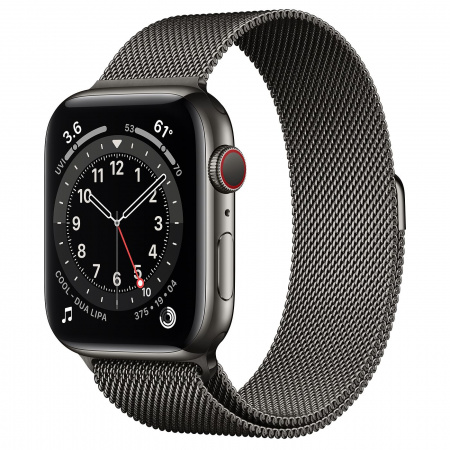 Apple Watch S6 GPS + Cellular, 44mm Graphite Stainless Steel Case with Graphite Milanese Loop