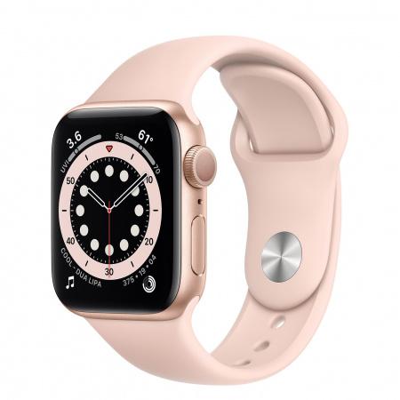 Apple Watch S6 GPS, 40mm Gold Aluminium Case with Pink Sand Sport Band - Regular