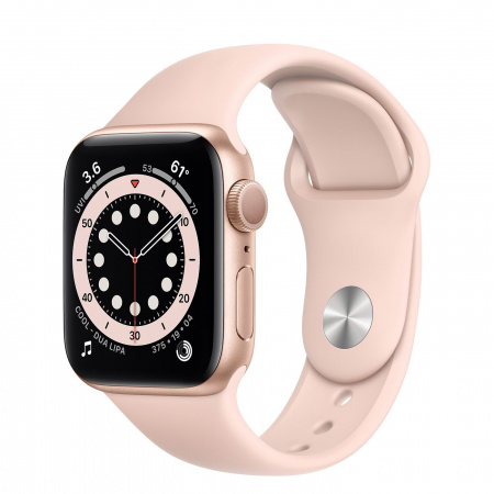Apple Watch S6 GPS, 40mm Gold Aluminium Case with Pink Sand Sport Band - Regular