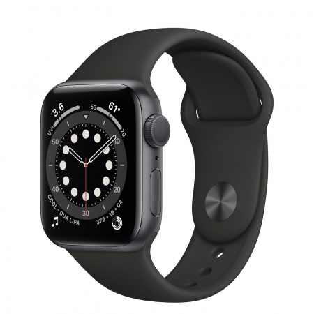 Apple Watch S6 GPS, 40mm Space Gray Aluminium Case with Black Sport Band - Regular