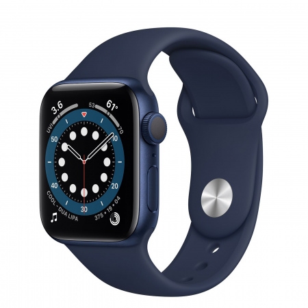 Apple Watch S6 GPS, 40mm Blue Aluminium Case with Deep Navy Sport Band - Regular