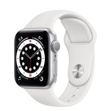 Apple Watch S6 GPS, 40mm Silver Aluminium Case with White Sport Band - Regular