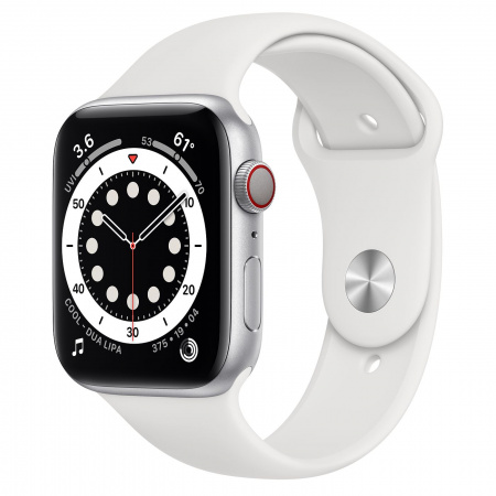 Apple Watch S6 GPS + Cellular, 44mm Silver Aluminium Case with White Sport Band - Regular
