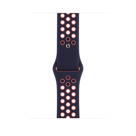 Apple Watch 44mm Nike Band: Blue Black/Bright Mango Nike Sport Band - Regular (Seasonal Fall 2020)