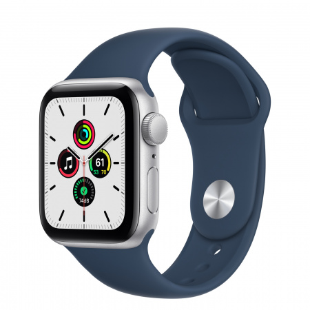 Apple Watch SE (v2) GPS, 40mm Silver Aluminium Case with Abyss Blue Sport Band - Regular