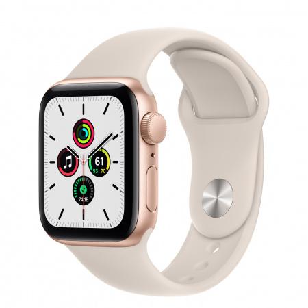 Apple Watch SE (v2) GPS, 40mm Gold Aluminium Case with Starlight Sport Band - Regular
