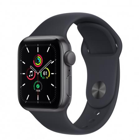 Apple Watch SE (v2) GPS, 40mm Space Grey Aluminium Case with Midnight Sport Band - Regular