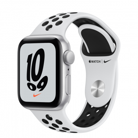 Apple Watch Nike SE (v2) GPS, 40mm Silver Aluminium Case with Pure Platinum/Black Nike Sport Band - Regular