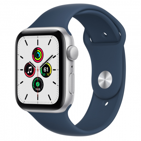 Apple Watch SE (v2) GPS, 44mm Silver Aluminium Case with Abyss Blue Sport Band - Regular