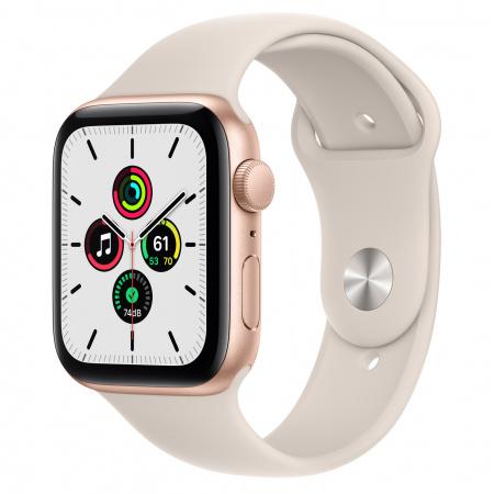 Apple Watch SE (v2) GPS, 44mm Gold Aluminium Case with Starlight Sport Band - Regular