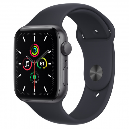 Apple Watch SE (v2) GPS, 44mm Space Grey Aluminium Case with Midnight Sport Band - Regular