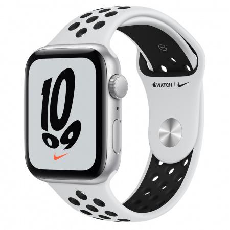Apple Watch Nike SE (v2) GPS, 44mm Silver Aluminium Case with Pure Platinum/Black Nike Sport Band - Regular