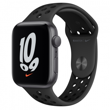 Apple Watch Nike SE (v2) GPS, 44mm Space Grey Aluminium Case with Anthracite/Black Nike Sport Band - Regular