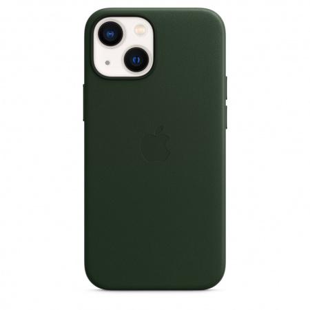 Apple iPhone 13 mini Leather Case with MagSafe - Sequoia Green  (Seasonal Fall 2021)