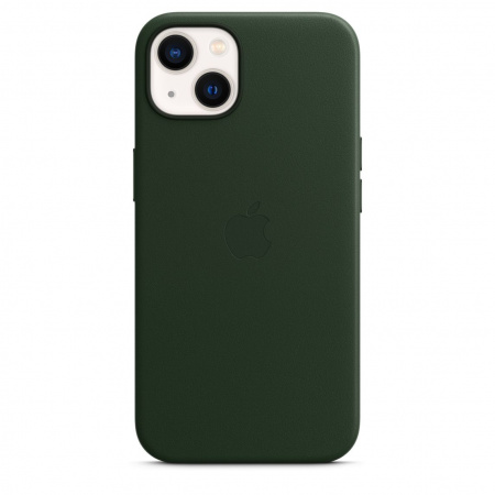 Apple iPhone 13 Leather Case with MagSafe - Sequoia Green  (Seasonal Fall 2021)