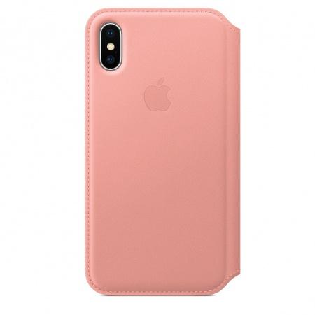 Apple iPhone X Leather Folio - Soft Pink   (Seasonal Spring2018)