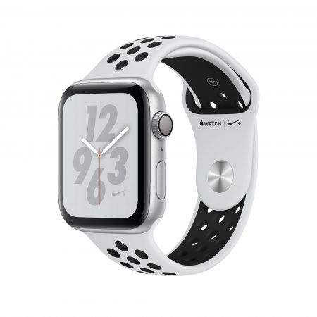 Apple Watch Nike+ Series 4 GPS, 44mm Silver Aluminium Case with Pure Platinum/Black Nike Sport Band