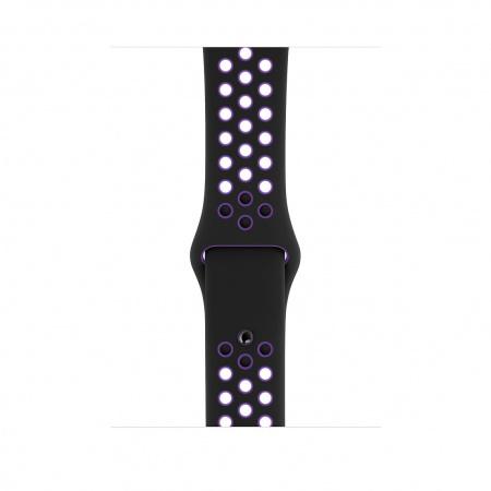 Apple Watch 44mm Nike Band: Black/Hyper Grape Nike Sport Band - S/M & M/L (Seasonal Spring2019)