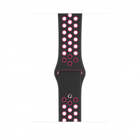 Apple Watch 44mm Nike Band: Black/Pink Blast Nike Sport Band - S/M & M/L (Seasonal Autumn 2019)