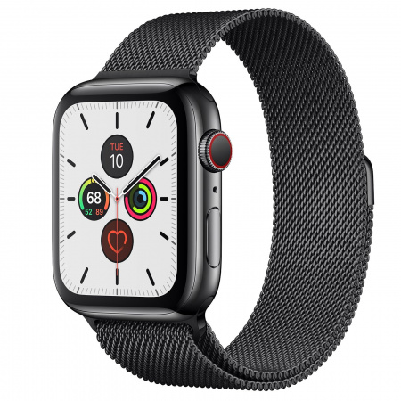 Apple Watch Series 5 GPS + Cellular, 44mm Space Black Stainless Steel Case with Space Black Milanese Loop