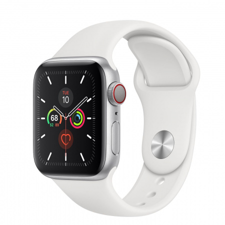 Apple Watch Series 5 GPS + Cellular, 40mm Silver Aluminium Case with White Sport Band - S/M & M/L