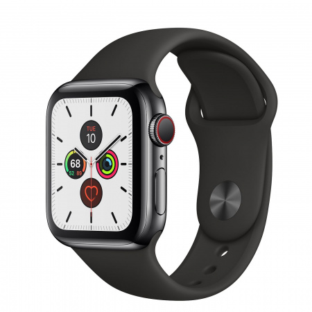Apple Watch Series 5 GPS + Cellular, 40mm Space Black Stainless Steel Case with Black Sport Band - S/M & M/L