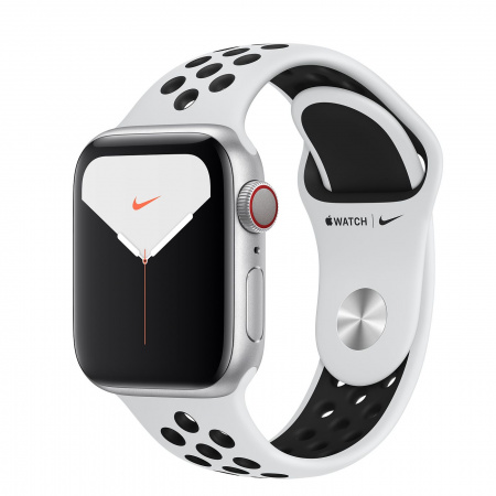 Apple Watch Nike Series 5 GPS + Cellular, 40mm Silver Aluminium Case with Pure Platinum/Black Nike Sport Band - S/M & M/L