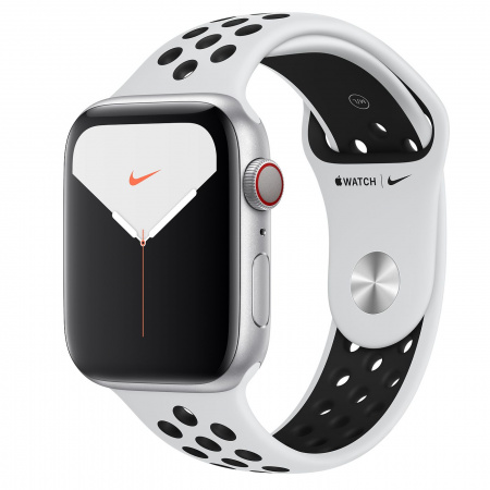 Apple Watch Nike Series 5 GPS + Cellular, 44mm Silver Aluminium Case with Pure Platinum/Black Nike Sport Band - S/M & M/L