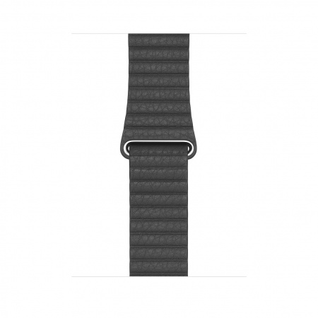 Apple Watch 44mm Band:  Black Leather Loop - Medium