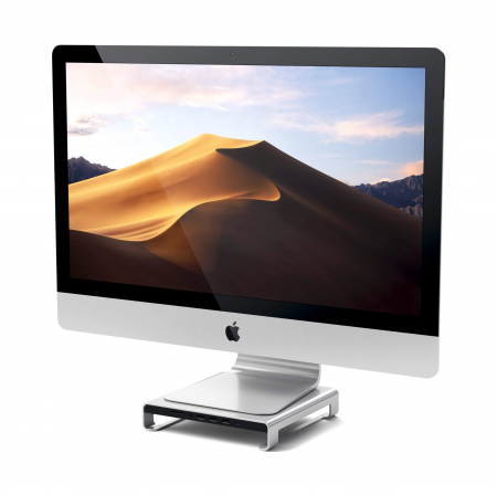 Satechi Aluminum Monitor Stand Hub for iMac - Silver