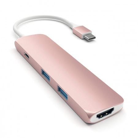 Satechi SLIM TYPE-C MultiPort Adapter - Rose gold