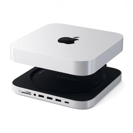 Satechi Aluminium Type-C Stand and Hub for Mac Mini w/ SSD Enclosure - Silver
