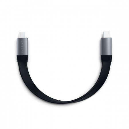 Satechi USB-C to USB-C Gen 2 Flat Cable (0.24m) - Space Gray