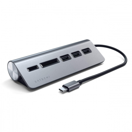 Satechi TYPE-C Aluminum USB Hub & Card Reader - Space Gray