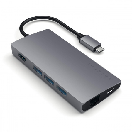 Satechi Aluminium TYPE-C Multi-Port Adapter (HDMI 4K,3x USB 3.0,MicroSD,Ethernet V2) - Space Grey