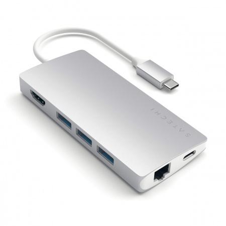 Satechi TYPE-C Multi-Port Adapter 4K Ethernet v2 - Silver