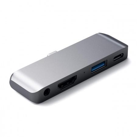 Satechi Aluminium TYPE-C Mobile Pro Hub (HDMI 4k,1x Jack 3mm,1x USB-A,1x USB-C) - Space Grey