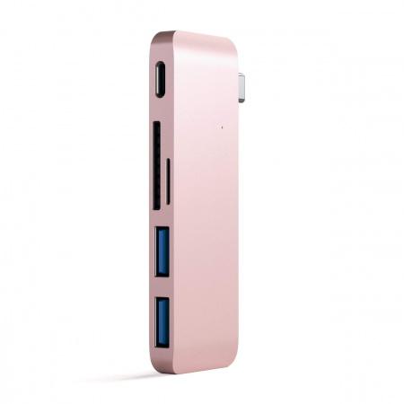 Satechi Aluminium TYPE-C Passthrough USB Hub (3x USB 3.0,MicroSD) - Rose Gold