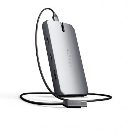 Satechi USB-C On the go Multiport adapter (1xUSB-C PD charging, 1x G.Ethernet,1x 4K HDMI,1x VGA,1x USB-A,1x USB-C, micro/SD) - Space Grey